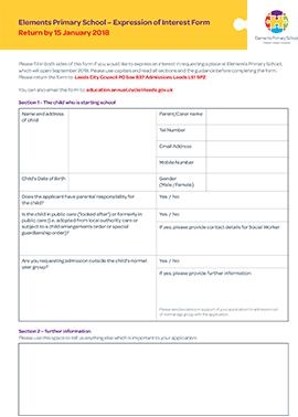 primary school admission form pdf